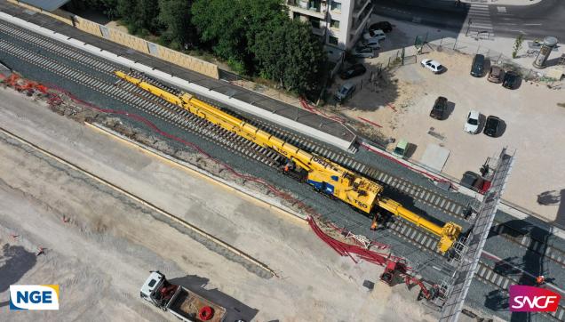 Vue aérienne de la Grue TSO Gare Aix-en-Provence vista por Drone + logo Sncf NGE © Drone-Pictures