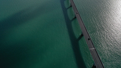 Drone photography of Oléron island bridge, France
