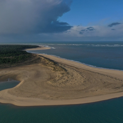 """Drone photography of the """"Pointe Espagnole"""" on the wild coast between Royan and Oléron island, France"""
