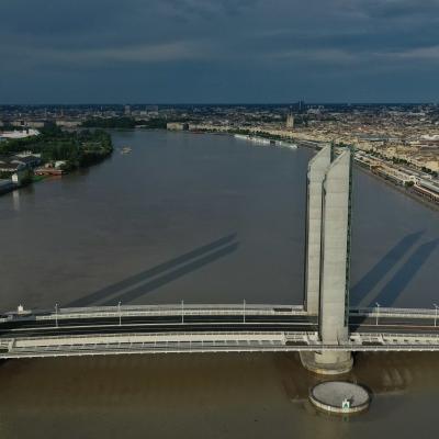 UAV aerial view of Chaban-Delmas bridge in Bordeaux, France