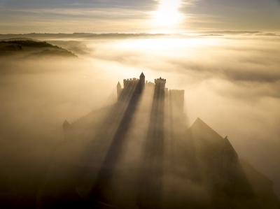 Photo of Beynac Castle viewed by UAV, Dordogne, France