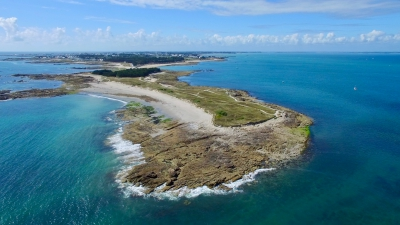 Aerial view of the Pointe du Conguel in Quiberon city Morbihan Brittany France