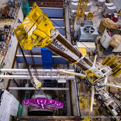 Photo by drone - Grand Paris Express - Cutting wheel of the tunnel boring machine on the T14 line - Médiaco cranes - DCOMDRONE