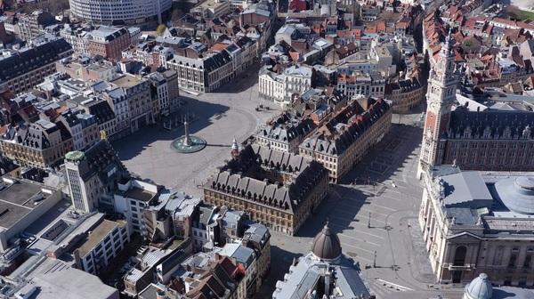 Vue aérienne de Lille pendant le confinement